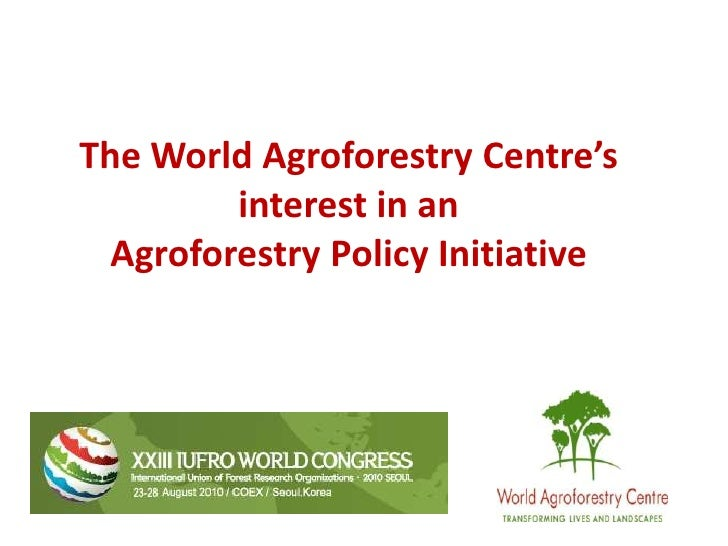The World Agroforestry Centre's interest in an <br />Agroforestry Policy Initiative<br />