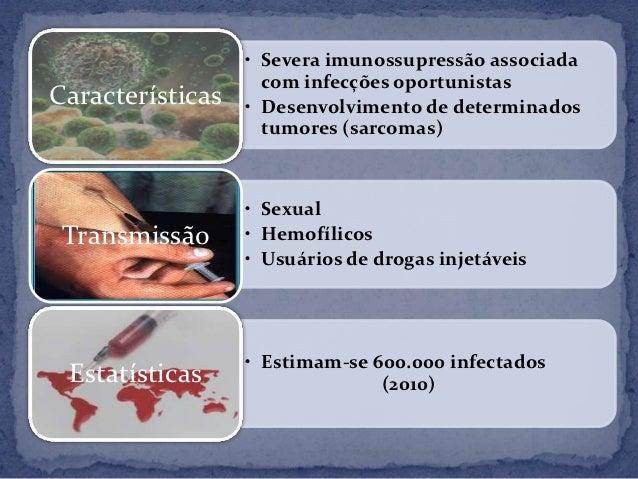 • Severa imunossupressão associada                    com infecções oportunistasCaracterísticas   • Desenvolvimento de det...