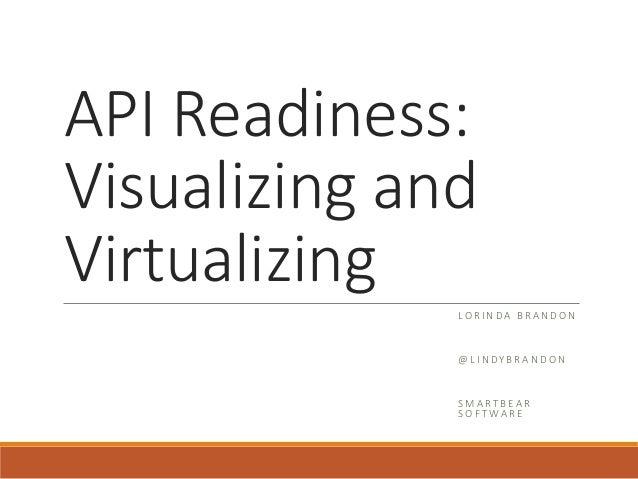 API Readiness: Visualizing and Virtualizing LO R I N D A B R A N D O N @ L I N DY B R A N D O N S M A RT B EA R S O F T WA...