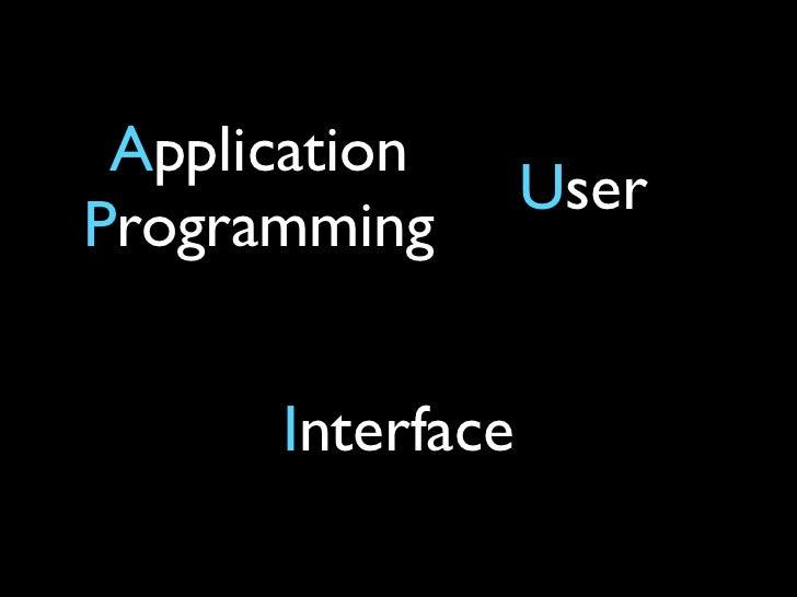 Application                  UserProgramming      Interface
