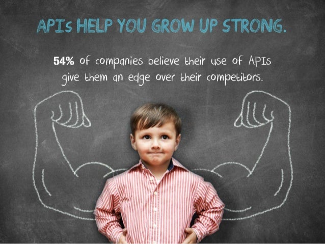 APIs help you grow up strong. 54% of companies believe their use of APIs give them an edge over their competitors.