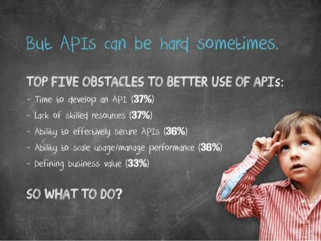 But APIs can be hard sometimes. Top five obstacles to better use of APIs: Time to develop an API 37% Lack of skilled resou...
