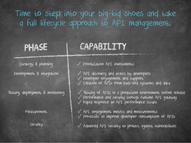 Time to step into your big-kid shoes and take a full lifecycle approach to API management: Phase Capability Strategy & pla...