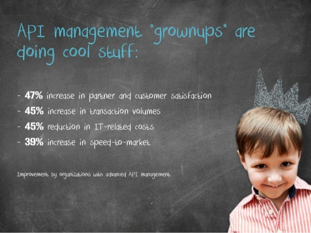 """API management """"grownups"""" are doing cool stuff: • 47% increase in partner and customer satisfaction • 45% increase in tran..."""