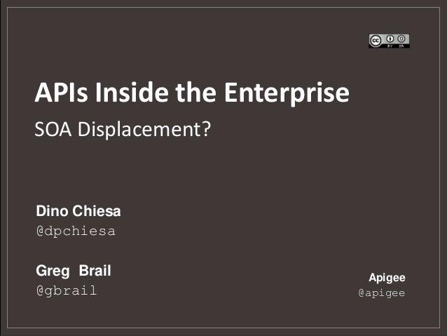 APIs Inside the EnterpriseSOA Displacement?Dino Chiesa@dpchiesaGreg Brail                    Apigee@gbrail                ...