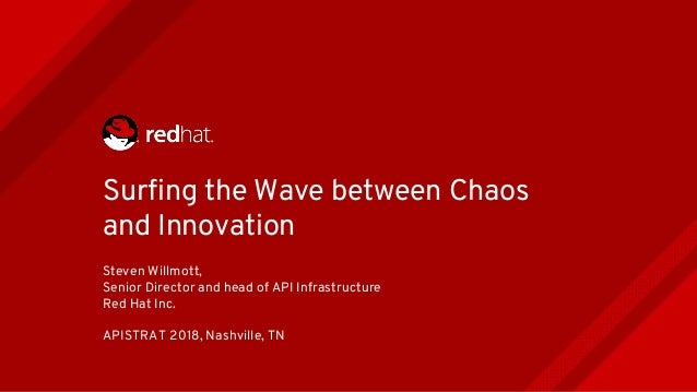 Surfing the Wave between Chaos and Innovation Steven Willmott, Senior Director and head of API Infrastructure Red Hat Inc....