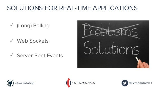 SOLUTIONS FOR REAL-TIME APPLICATIONS ✓ Web Sockets ✓ Server-Sent Events ✓ (Long) Polling @StreamdataIOstreamdataio