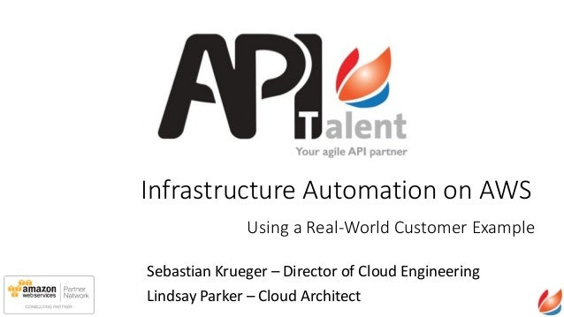 Infrastructure  Automation  on  AWS Sebastian	   Krueger	   –	   Director	   of	   Cloud	   Engineering	    Lindsay	   Par...
