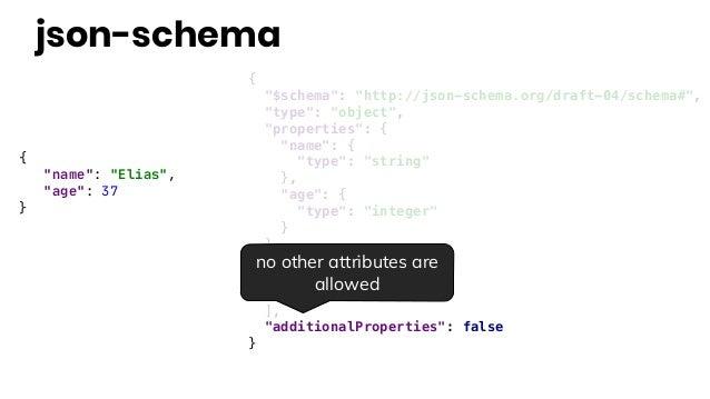 """{ """"name"""": """"Elias"""", """"age"""": 37 } { """"$schema"""": """"http://json-schema.org/draft-04/schema#"""", """"type"""": """"object"""", """"properties"""": { """"..."""