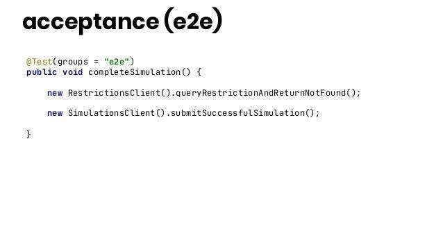 """acceptance (e2e) @Test(groups = """"e2e"""") public void completeSimulation() { new RestrictionsClient().queryRestrictionAndRetu..."""