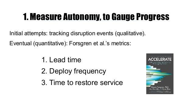 1. Measure Autonomy, to Gauge Progress Initial attempts: tracking disruption events (qualitative). Eventual (quantitative)...