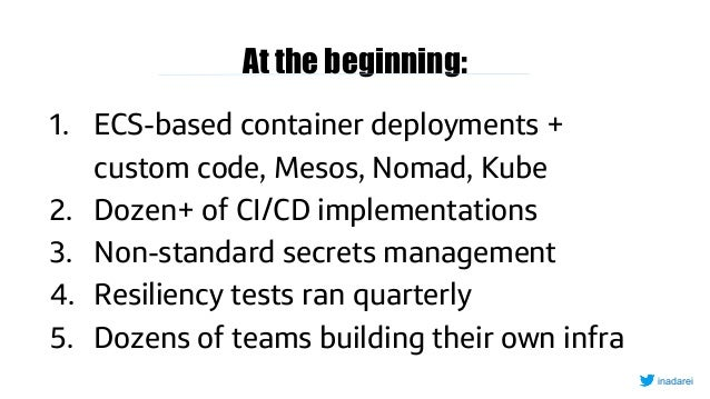 At the beginning: 1. ECS-based container deployments + custom code, Mesos, Nomad, Kube 2. Dozen+ of CI/CD implementations ...