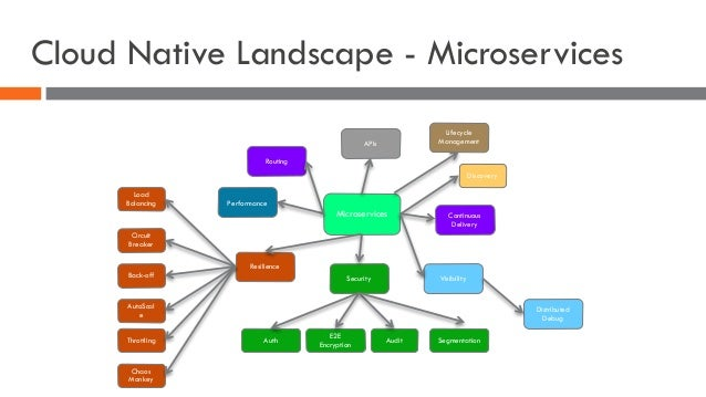 Cloud Native Landscape - Microservices Microservices APIs Performance Resilience Security Visibility Continuous Delivery A...