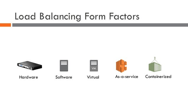 Load Balancing Form Factors Hardware Software VM Virtual As-a-service Containerized