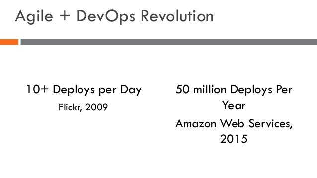 Agile + DevOps Revolution 10+ Deploys per Day Flickr, 2009 50 million Deploys Per Year Amazon Web Services, 2015