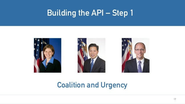 17 Building the API – Step 1 Coalition and Urgency