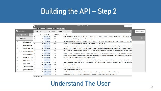 26 Building the API – Step 2 Understand The User