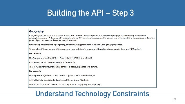 27 Building the API – Step 3 Understand Technology Constraints