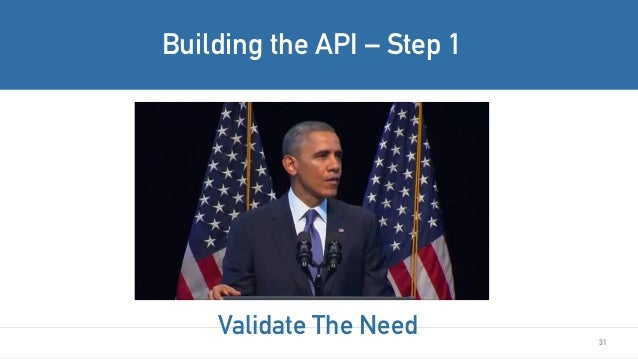 31 Building the API – Step 1 Validate The Need