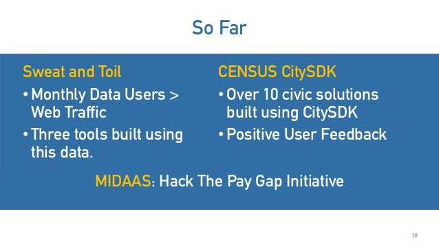 Sweat and Toil •Monthly Data Users > Web Traffic •Three tools built using this data. 38 So Far CENSUS CitySDK •Over 10 civ...