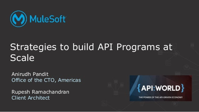 Strategies to build API Programs at Scale Anirudh Pandit Office of the CTO, Americas Rupesh Ramachandran Client Architect