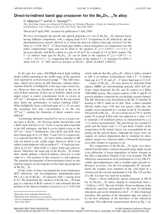 APPLIED PHYSICS LETTERS                                            VOLUME 79, NUMBER 6                                   6...