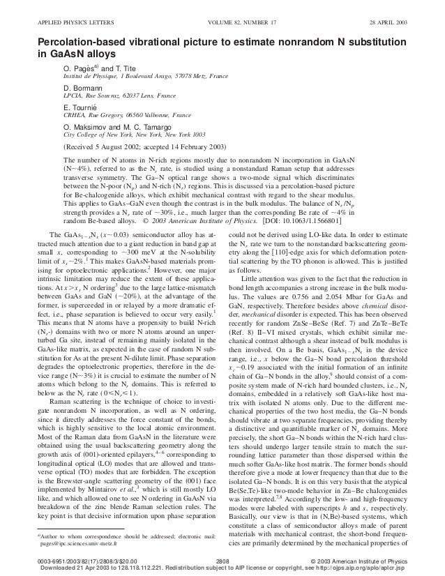APPLIED PHYSICS LETTERS                                         VOLUME 82, NUMBER 17                                      ...