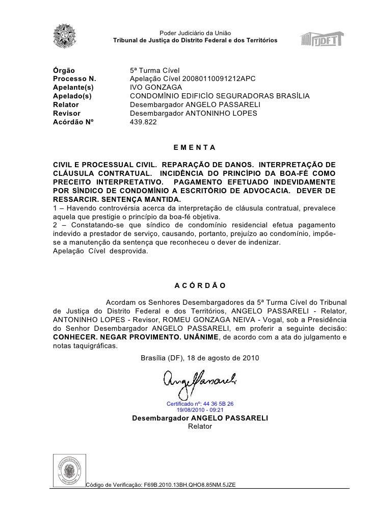 Poder Judiciário da União                  Tribunal de Justiça do Distrito Federal e dos TerritóriosÓrgão                 ...