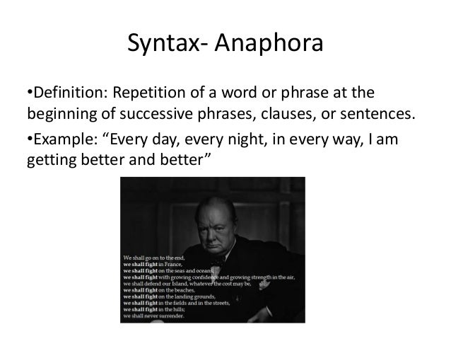 utilization of syntax anaphora and parallelism Start studying ib hl english paper 2 learn vocabulary because i could not stop for death anaphora dashes lead to utilization of enjambment.