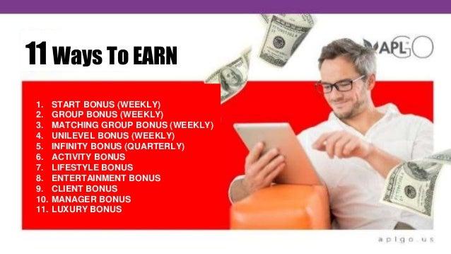 11 Ways To EARN 1. START BONUS (WEEKLY) 2. GROUP BONUS (WEEKLY) 3. MATCHING GROUP BONUS (WEEKLY) 4. UNILEVEL BONUS (WEEKLY...