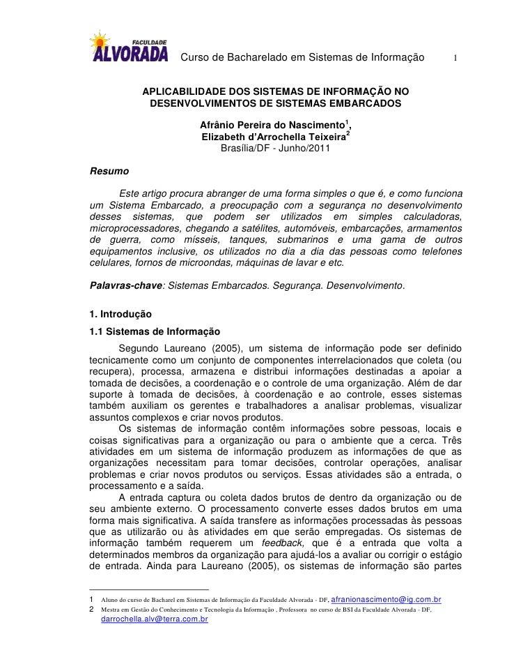 Curso de Bacharelado em Sistemas de Informação                                             1                 APLICABILIDAD...