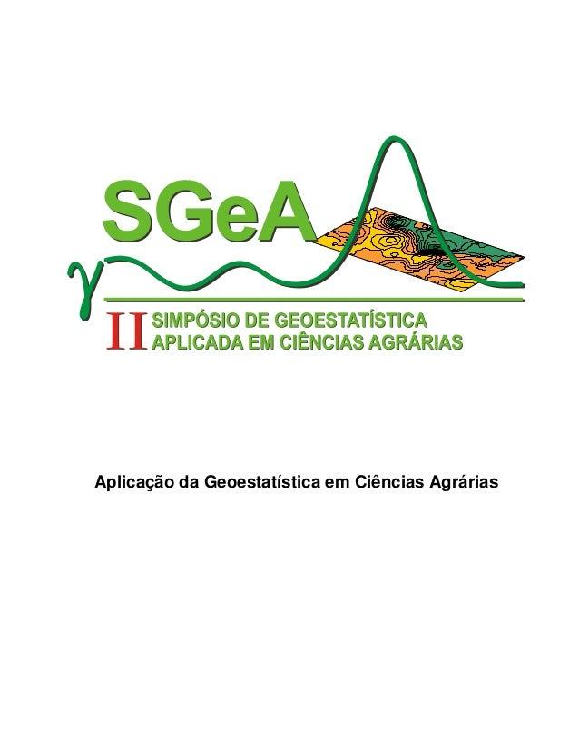 Aplicação da Geoestatística em Ciências Agrárias