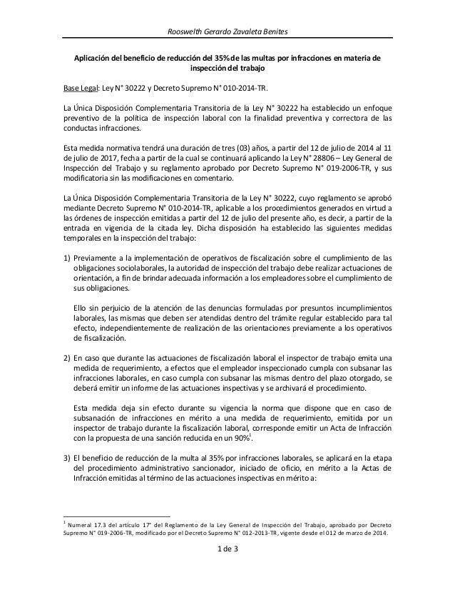 Rooswelth Gerardo Zavaleta Benites  1 de 3  Aplicación del beneficio de reducción del 35% de las multas por infracciones e...