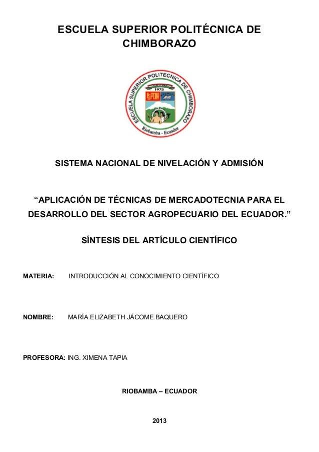 """ESCUELA SUPERIOR POLITÉCNICA DECHIMBORAZOSISTEMA NACIONAL DE NIVELACIÓN Y ADMISIÓN""""APLICACIÓN DE TÉCNICAS DE MERCADOTECNIA..."""