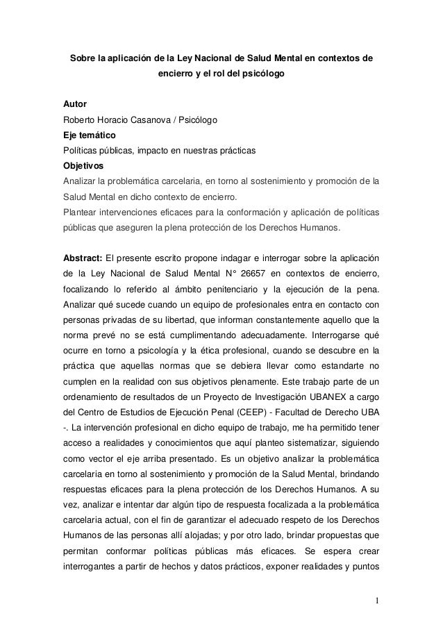 1 Sobre la aplicación de la Ley Nacional de Salud Mental en contextos de encierro y el rol del psicólogo Autor Roberto Hor...