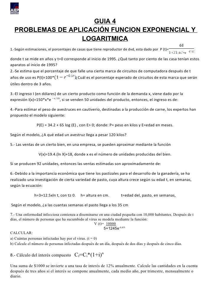 GUIA 4  PROBLEMAS DE APLICACIÓN FUNCION EXPONENCIAL Y                  LOGARITMICA1.-Según estimaciones, el porcentajes de...
