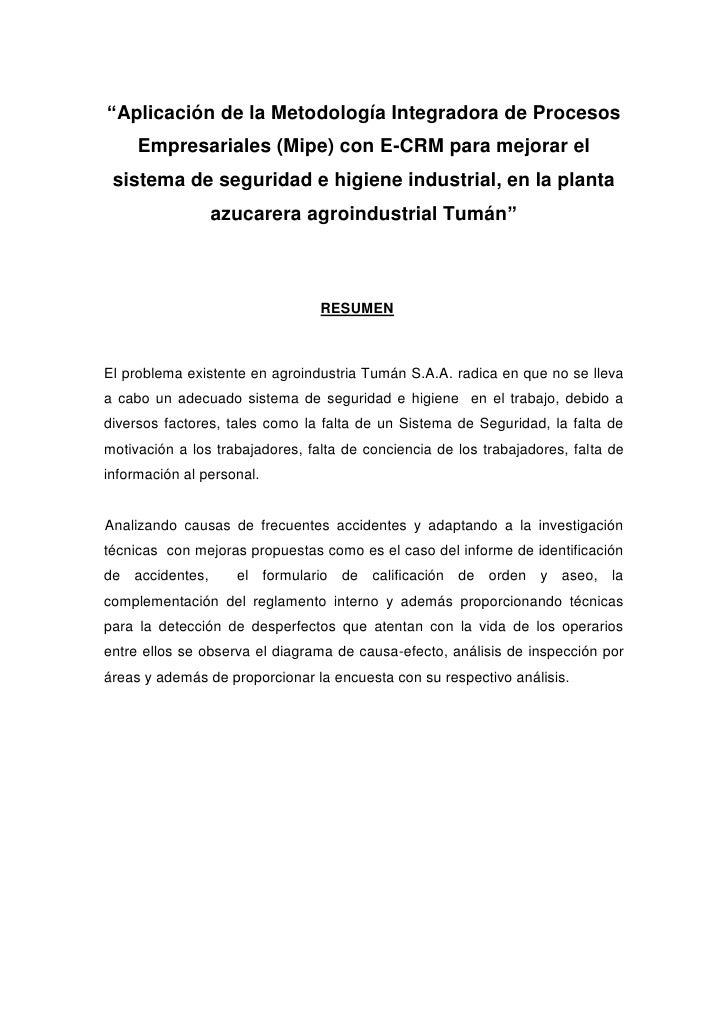 """""""Aplicación de la Metodología Integradora de Procesos Empresariales (Mipe) con E-CRM para mejorar el sistema de seguridad ..."""