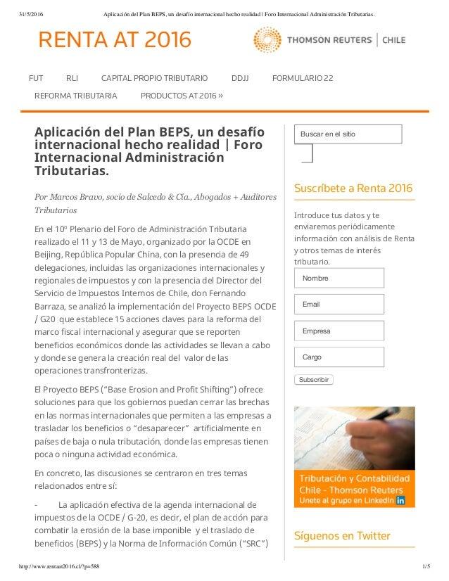 31/5/2016 Aplicación del Plan BEPS, un desafío internacional hecho realidad | Foro Internacional Administración Tributaria...