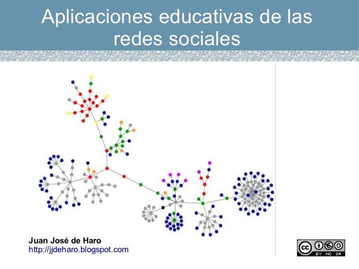 Aplicaciones educativas de las redes sociales Juan José de Haro http://jjdeharo.blogspot.com