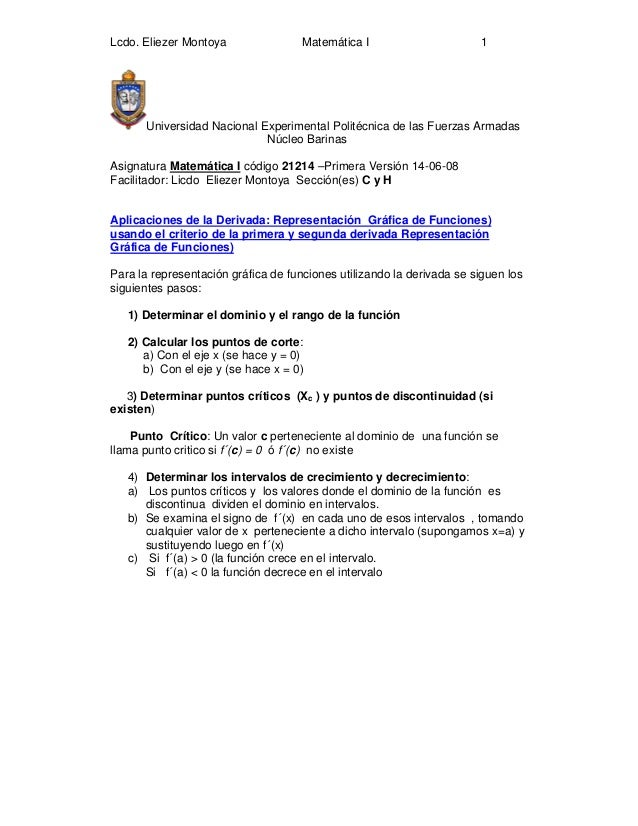 Lcdo. Eliezer Montoya Matemática I 1Universidad Nacional Experimental Politécnica de las Fuerzas ArmadasNúcleo BarinasAsig...