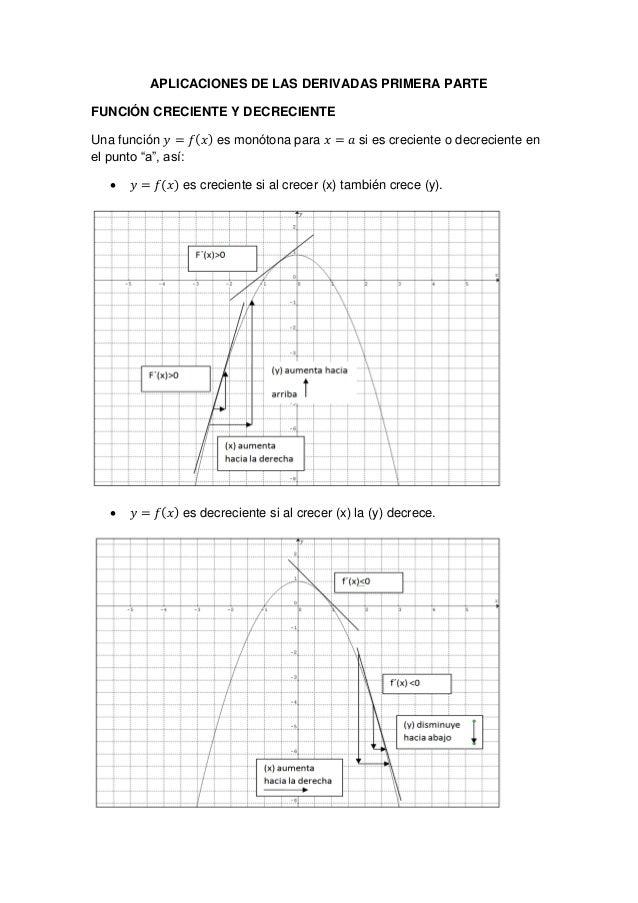 APLICACIONES DE LAS DERIVADAS PRIMERA PARTE FUNCIÓN CRECIENTE Y DECRECIENTE Una función ( ) es monótona para si es crecien...