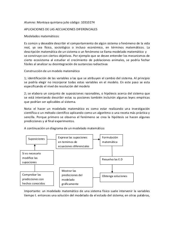 Alumno: Montoya quintana julio código: 10310274<br />APLICACIONES DE LAS AECUACIONES DIFERENCIALES  <br />Modelados matemá...