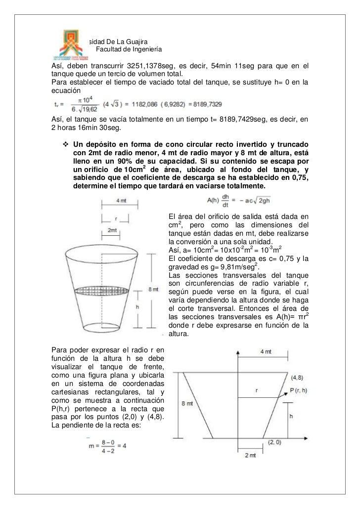 Aplicaciones de las ecuaciones diferenciales a problemas for Diferencia entre tanque y estanque