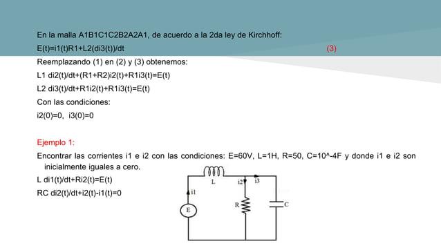 Ejemplo 2: Resolver la ecuación diferencial: y′′-3y′+2y=4t+12e^(-t) , con y(0)=6, y′(0)=-1 Aplicando la transformada de La...