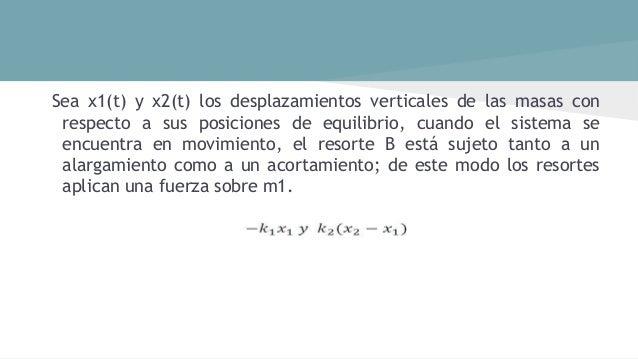 En otras palabras, el movimiento del sistema acoplado queda descrito por el siguiente sistema de ecuaciones diferenciales ...