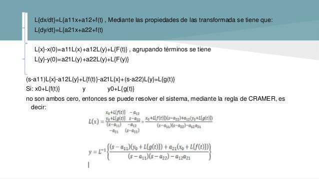 L{dx/dt}=L{a11x+a12+f(t) , Mediante las propiedades de las transformada se tiene que: L{dy/dt}=L{a21x+a22+f(t) L{x}-x(0)=a...
