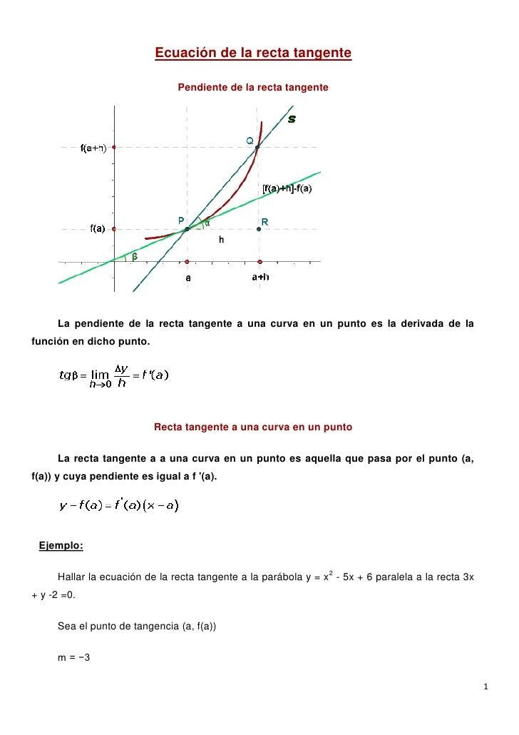 Ecuación de la recta tangente                                Pendiente de la recta tangente     La pendiente de la recta t...