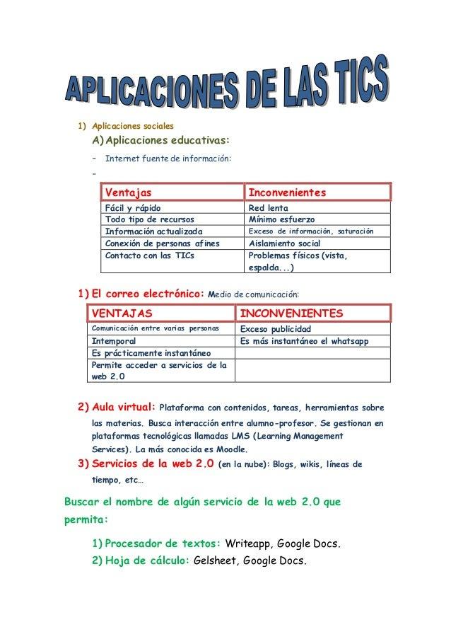 1) Aplicaciones sociales  A) Aplicaciones educativas:  - Internet fuente de información:  -  Ventajas Inconvenientes  Fáci...