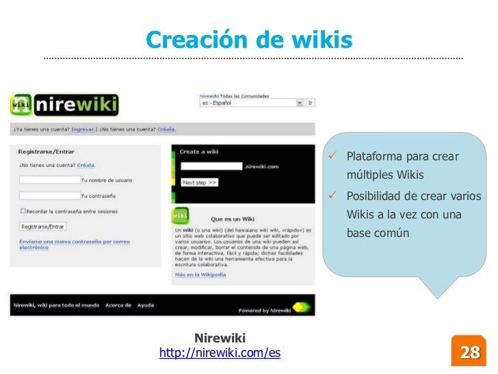 Creación de wikis                               Plataforma para crear                              múltiples Wikis       ...