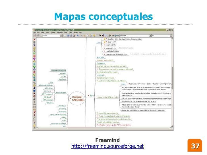 Mapas conceptuales                   Freemind    http://freemind.sourceforge.net   37